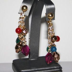 Beautiful gold and colorful bead dangle earrings